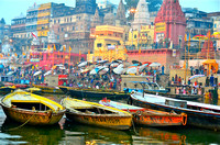 Daswamedh Ghat --on the sacred river Ganges.  Thousands of faithful come daily to the banks to bathe