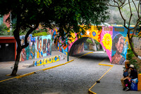 Brightly painted graffiti everywhere